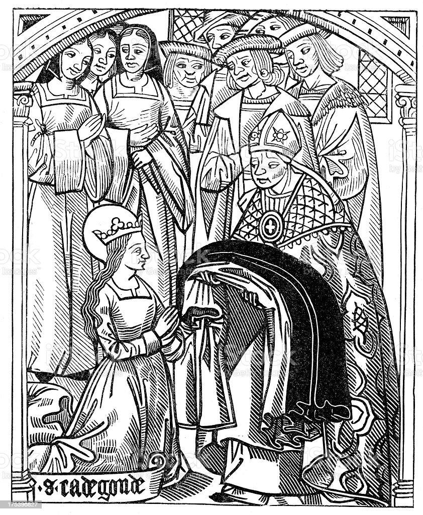 Saint Radegund, wife of King Clotaire royalty-free stock vector art