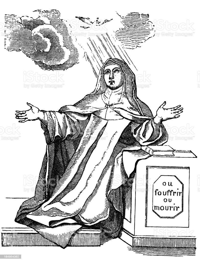 Saint Teresa vector art illustration