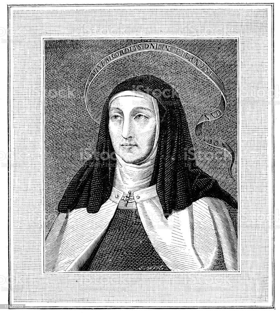 Saint Teresa of ivila vector art illustration