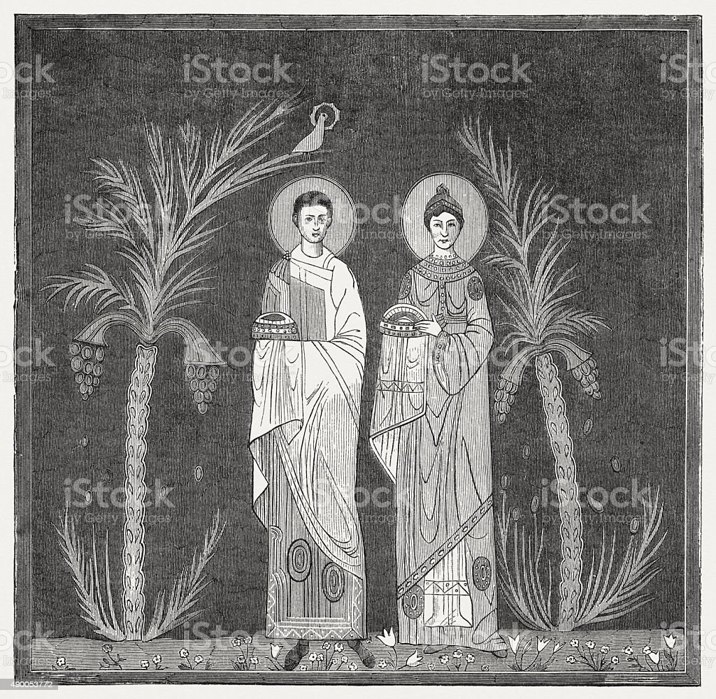 Saints Valerian and Cecilia (Mosaic, 9th century), published in 1878 vector art illustration