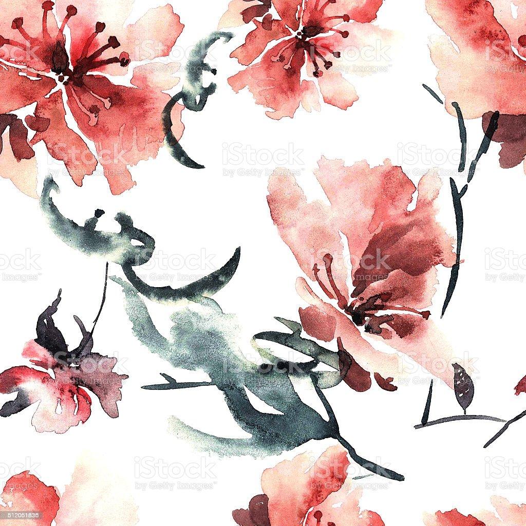 Sakura flower vector art illustration
