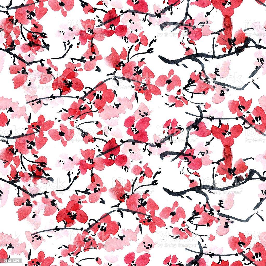 Sakura. Flowers background texture. vector art illustration