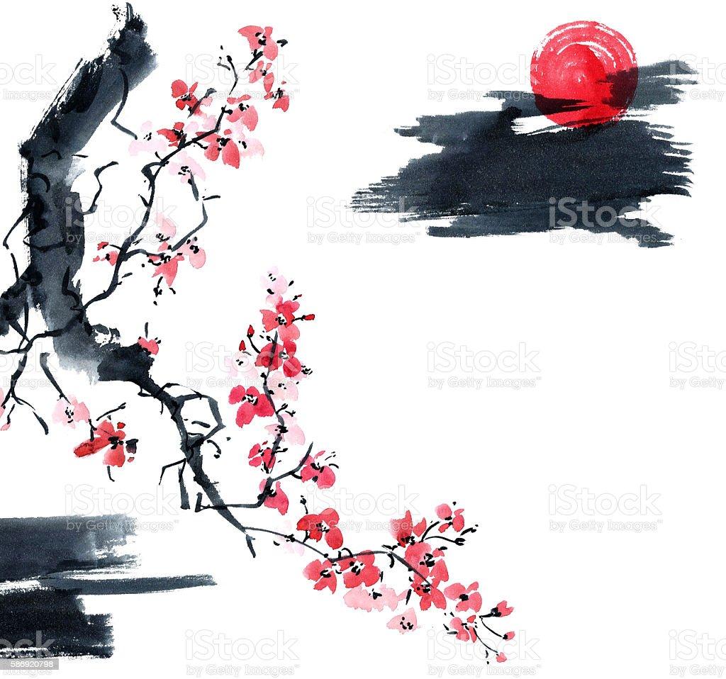 Sakura. Illustration of blossom tree. vector art illustration