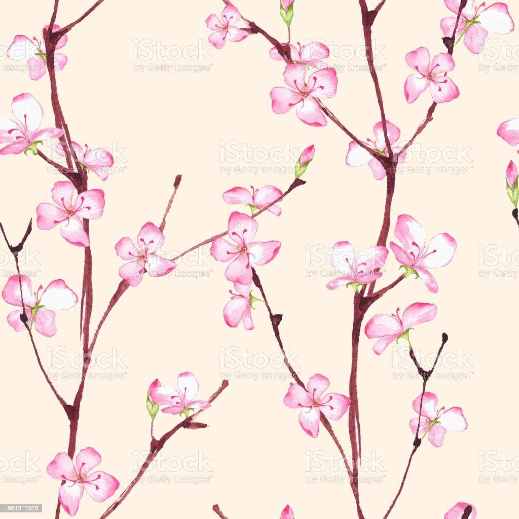 Sakura. Seamless floral pattern 3 vector art illustration