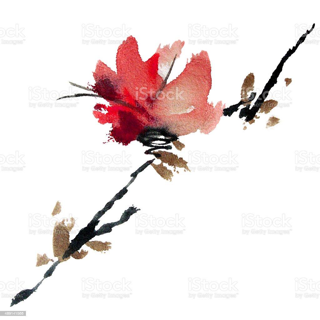Sakura tree vector art illustration