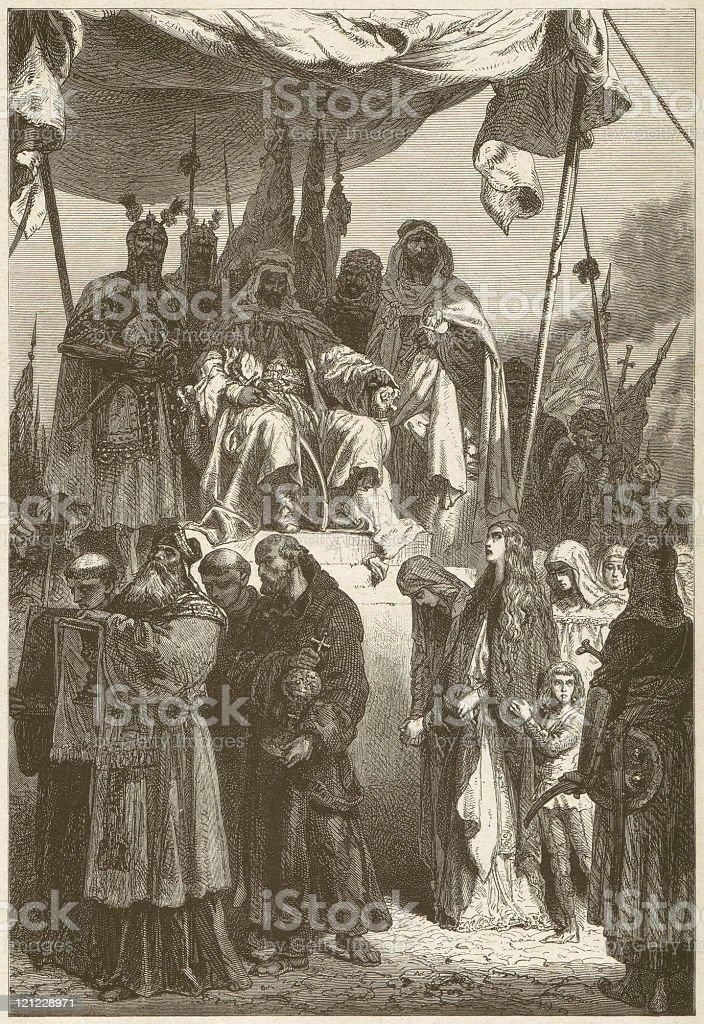 Saladin dismisses the imprisoned Christians in Jerusalem (1187), published 1881 vector art illustration
