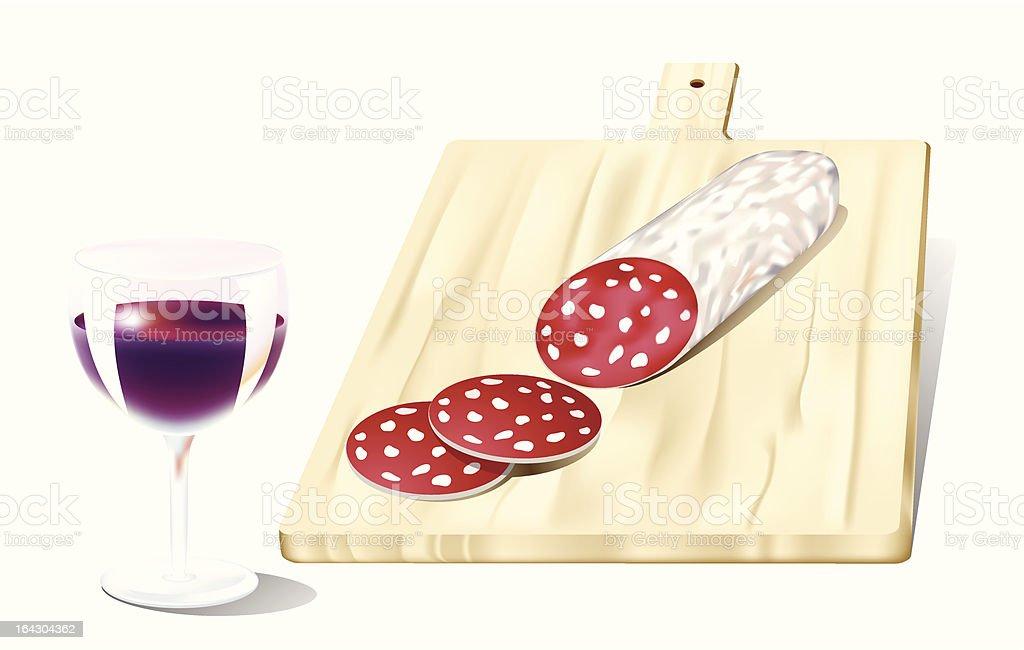 salame e vino rosso royalty-free stock vector art