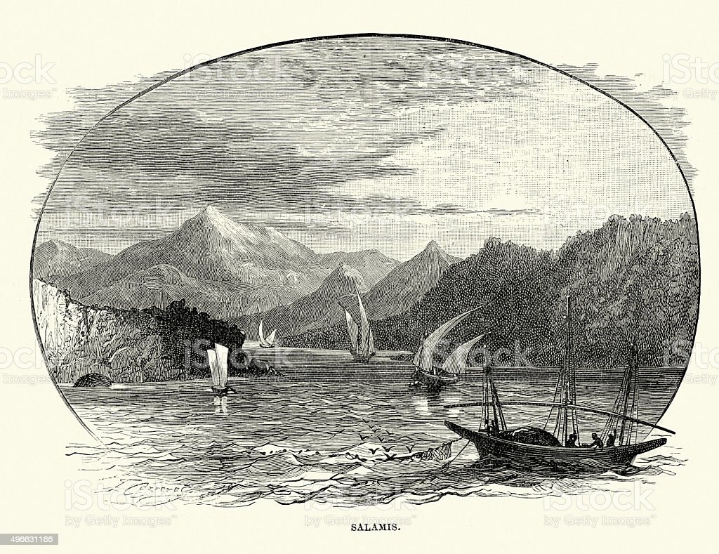 Salamis Island vector art illustration