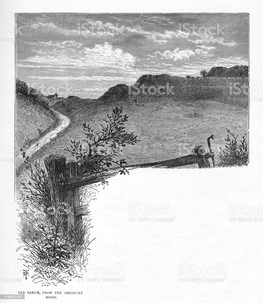 Salisbury and Old Sarum from the Amesbury Road Engraving vector art illustration