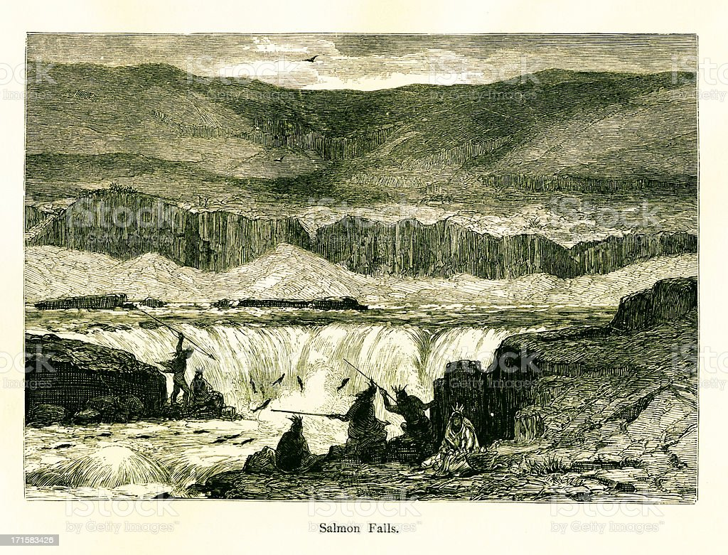 Salmon Falls River, USA | Historic American Illustrations royalty-free stock vector art