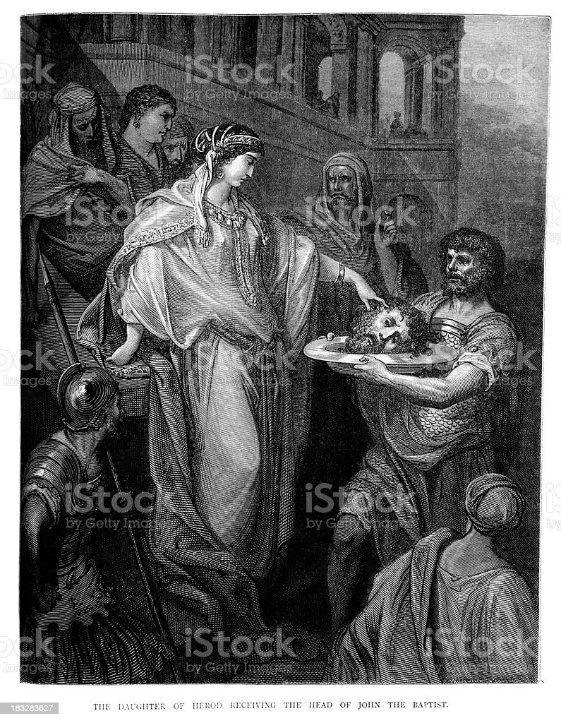 Salome and John the Baptist vector art illustration