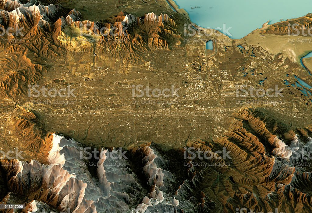 Salt Lake City 3D Landscape View East-West Natural Color vector art illustration