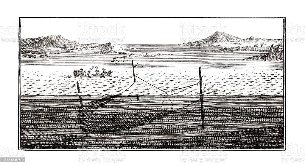 Saltwater fishing Industry on 1771 antique illustration vector art illustration