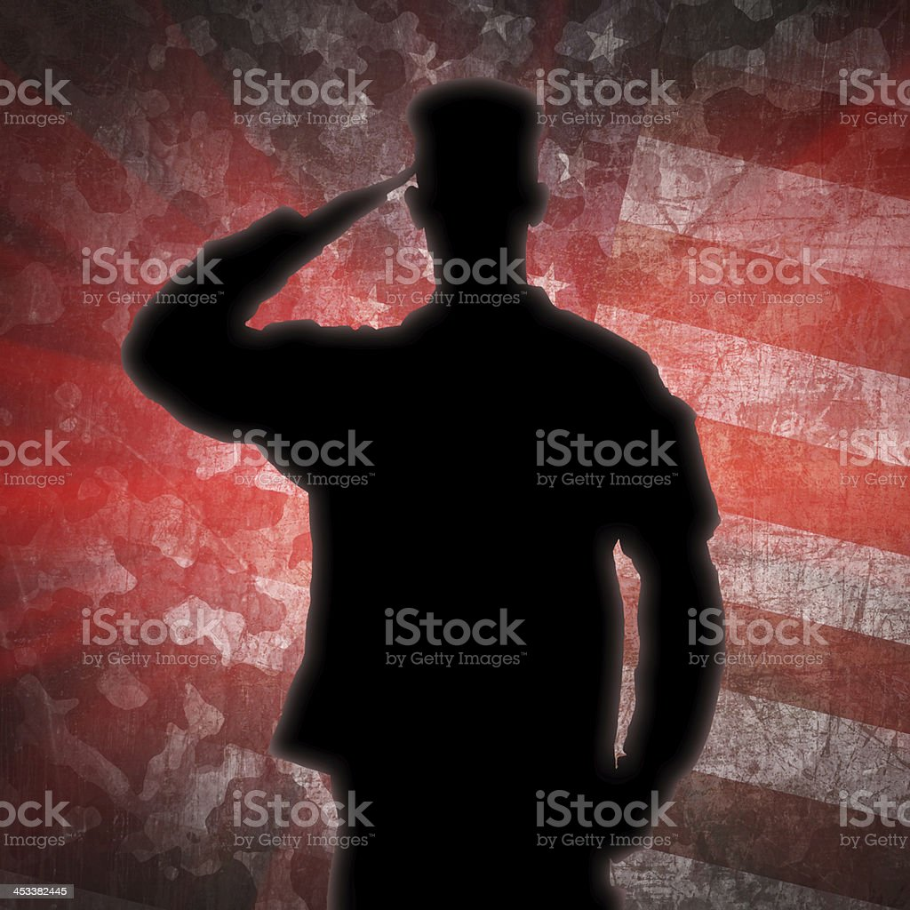 Saluting soldier's silhouette on an army camouflage background royalty-free stock vector art