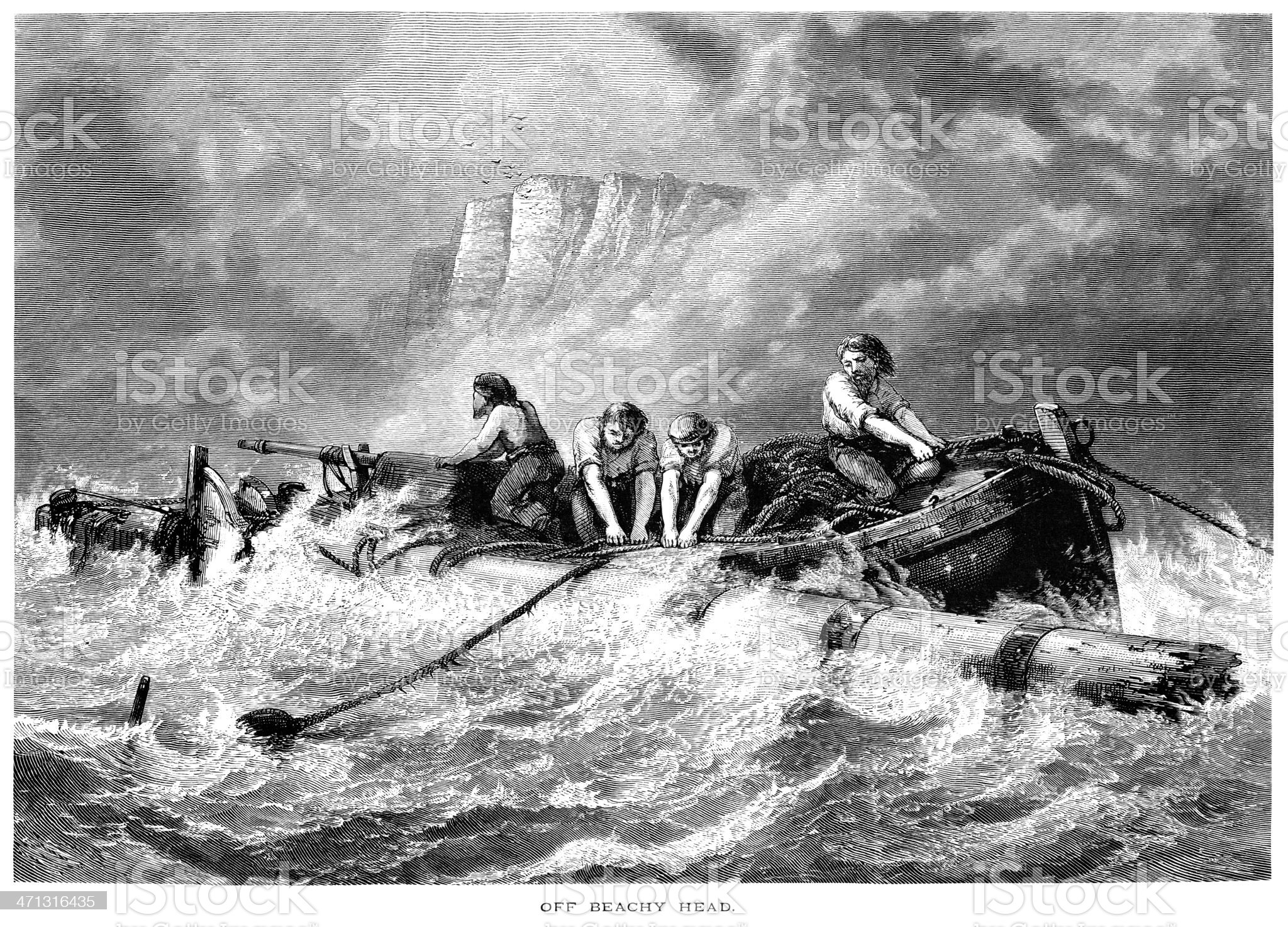 Salvaging off Beachy Head, Sussex royalty-free stock vector art