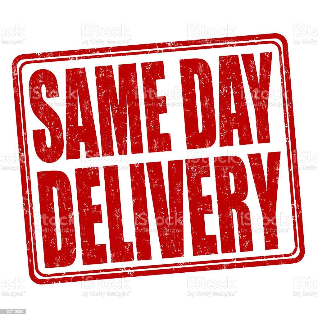 Same day delivery stamp vector art illustration