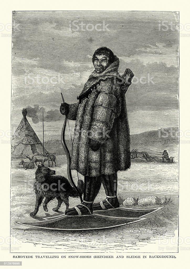 Samoyedic man travelling on snow shoes vector art illustration