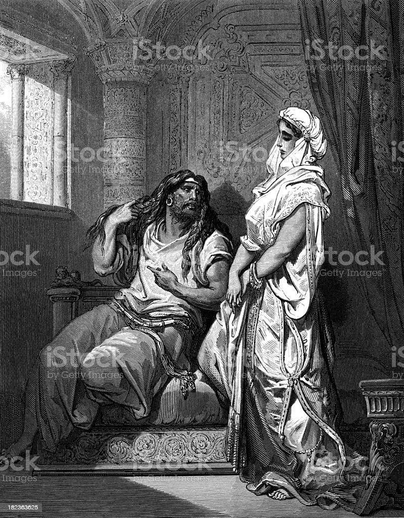 Samson and Delilah royalty-free stock vector art