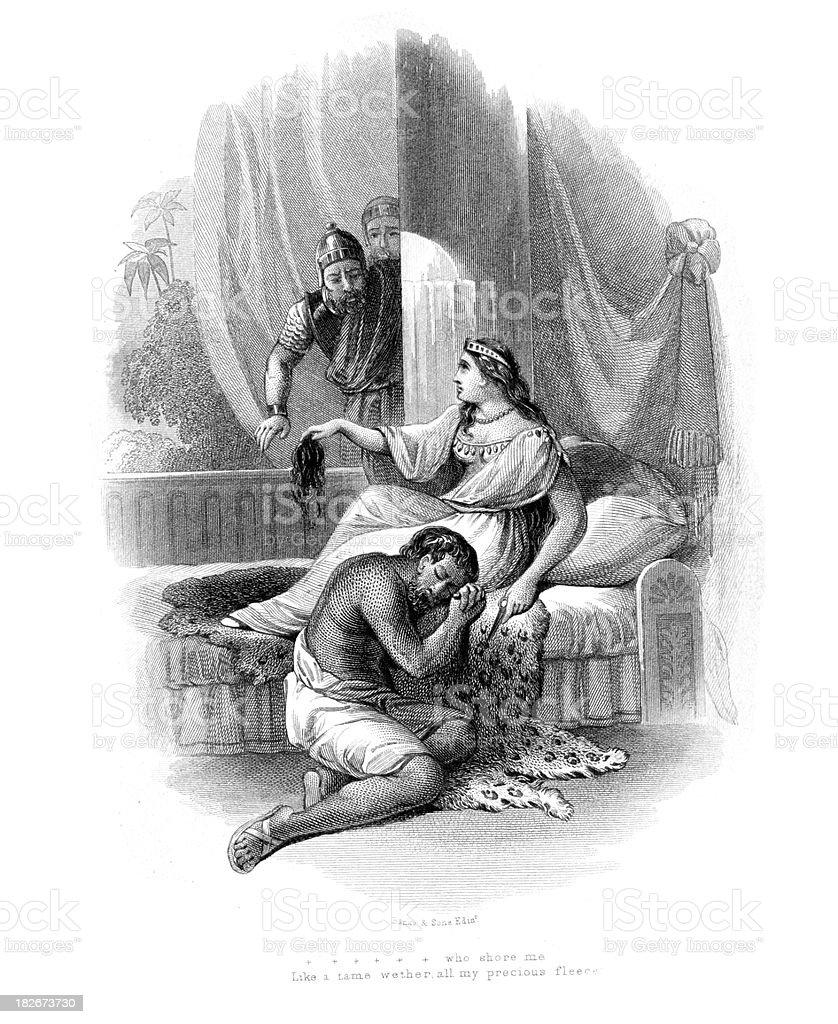 Samson and delilah royalty-free stock vector art