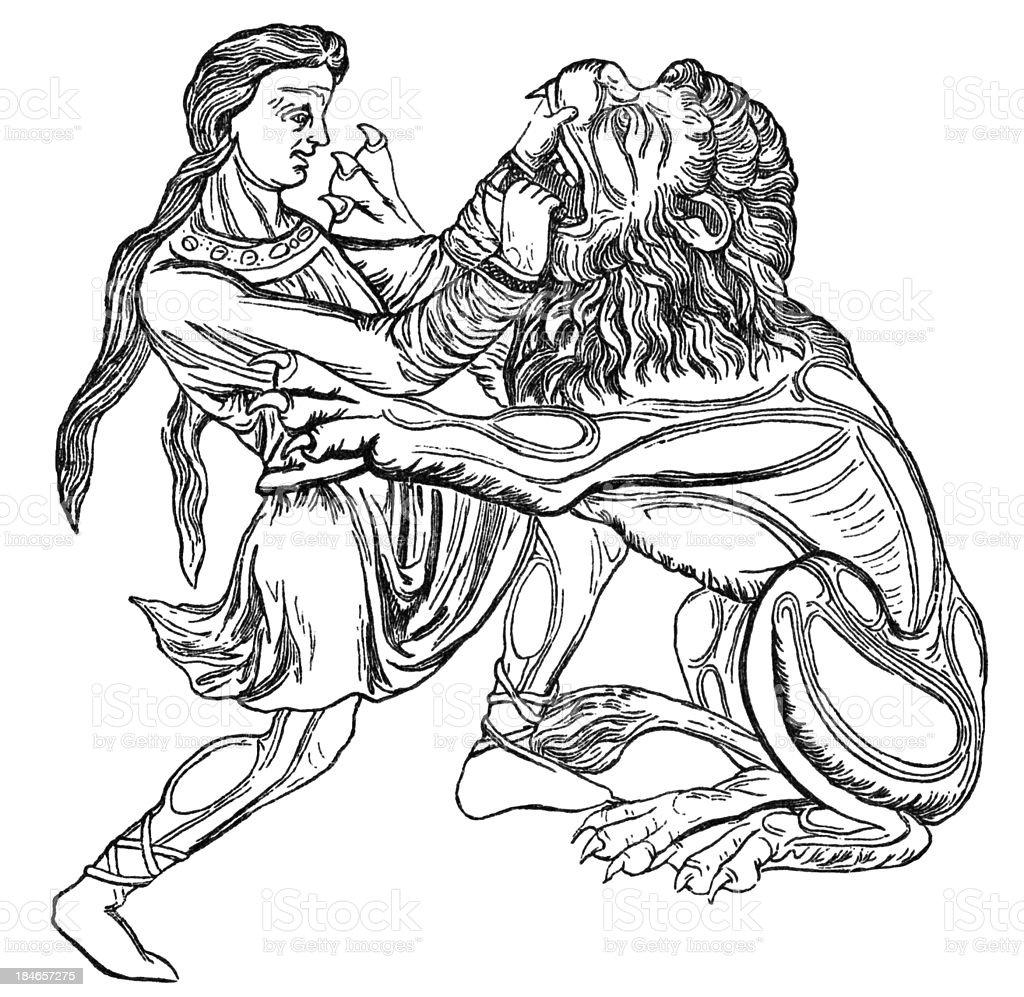 Samson and the Lion by Nicolas of Verdun royalty-free stock vector art