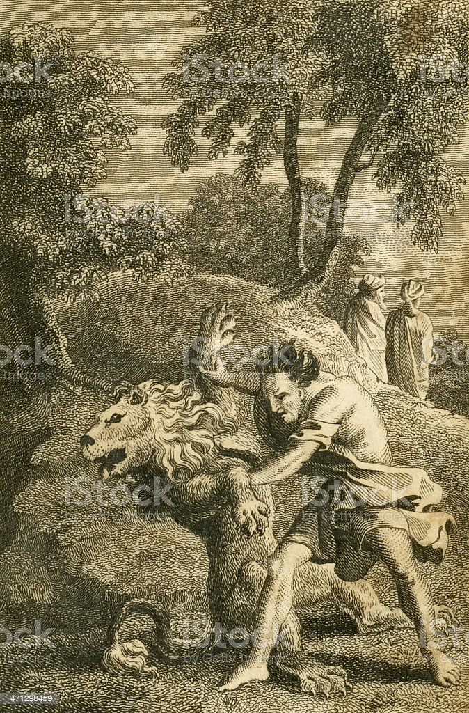 Samson and the lion (c1830 engraving) royalty-free stock vector art