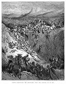 Samson destroying the philistines engraving 1870