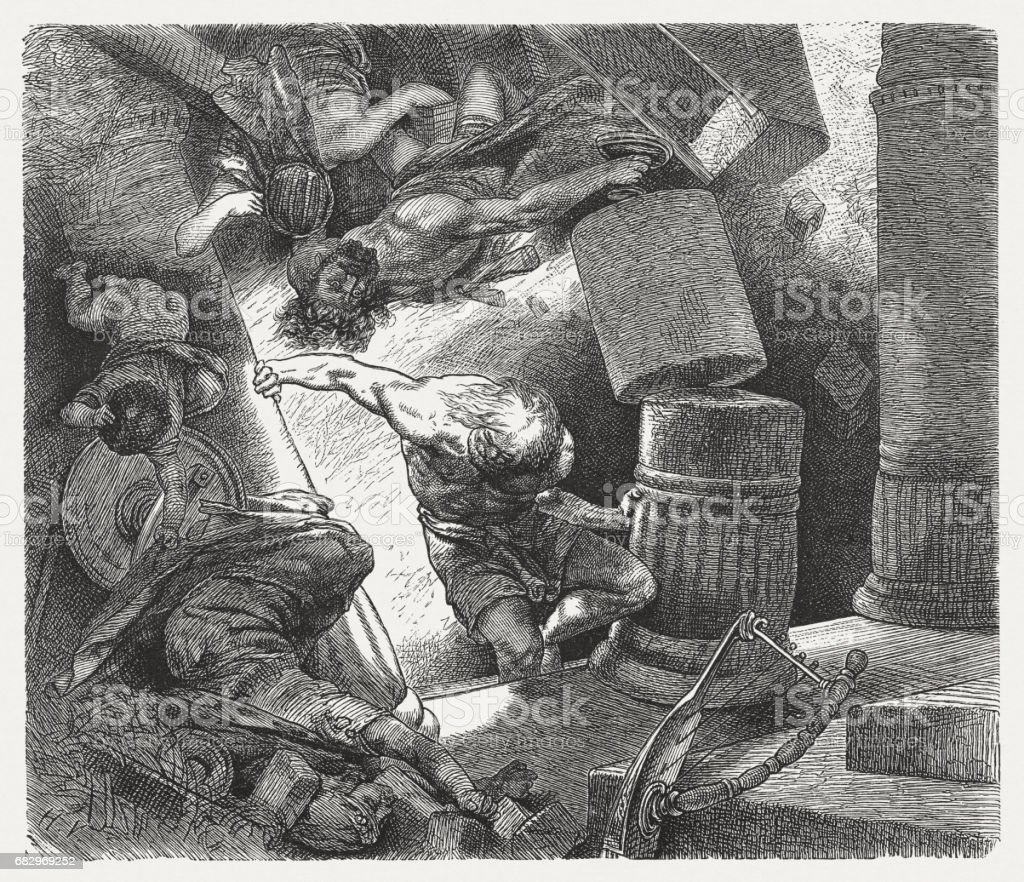 Samson's Downfall (Judges 16), wood engraving, published in 1880 vector art illustration
