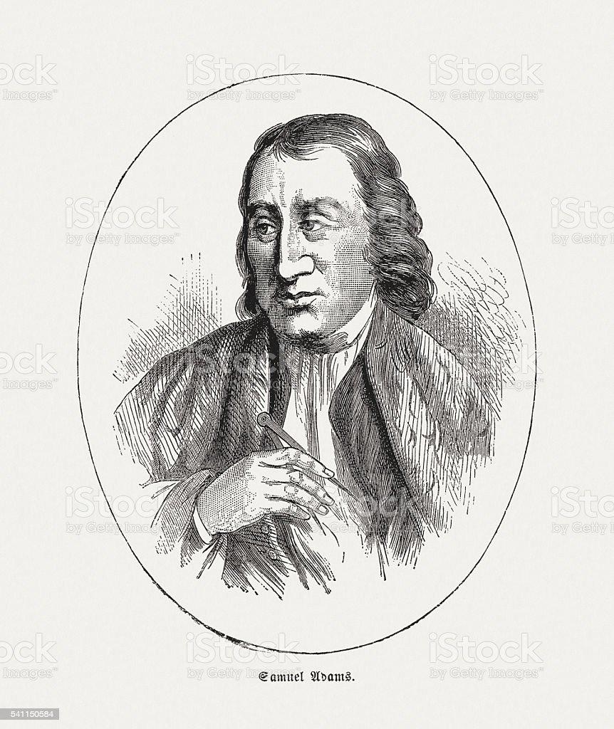 Samuel Adams (1722-1803), American statesman, wood engraving, published in 1884 vector art illustration