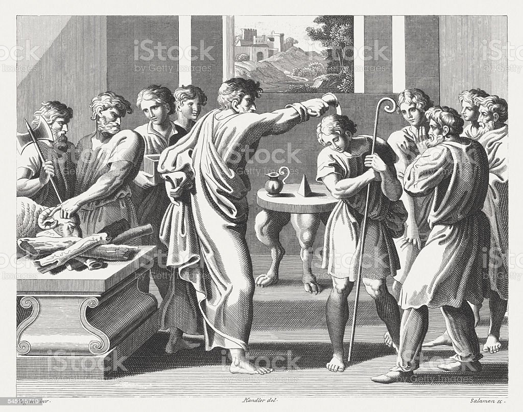 Samuel Anoints David as King (1 Samuel 16), published 1841 vector art illustration