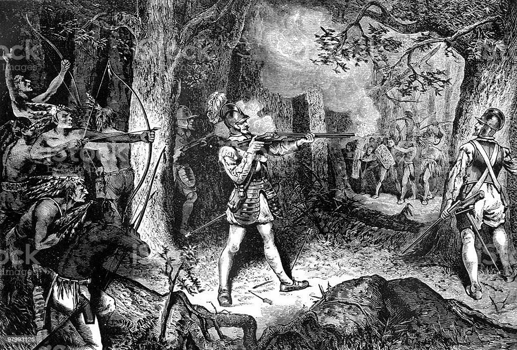 Samuel de Champlain Battles the Iroquois, 1609 vector art illustration