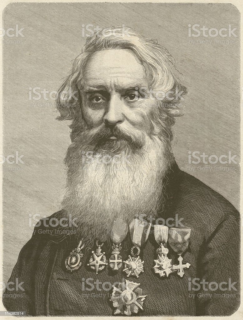 Samuel F.B. Morse (1791-1872), American inventor, wood engraving, published 1872 royalty-free stock vector art