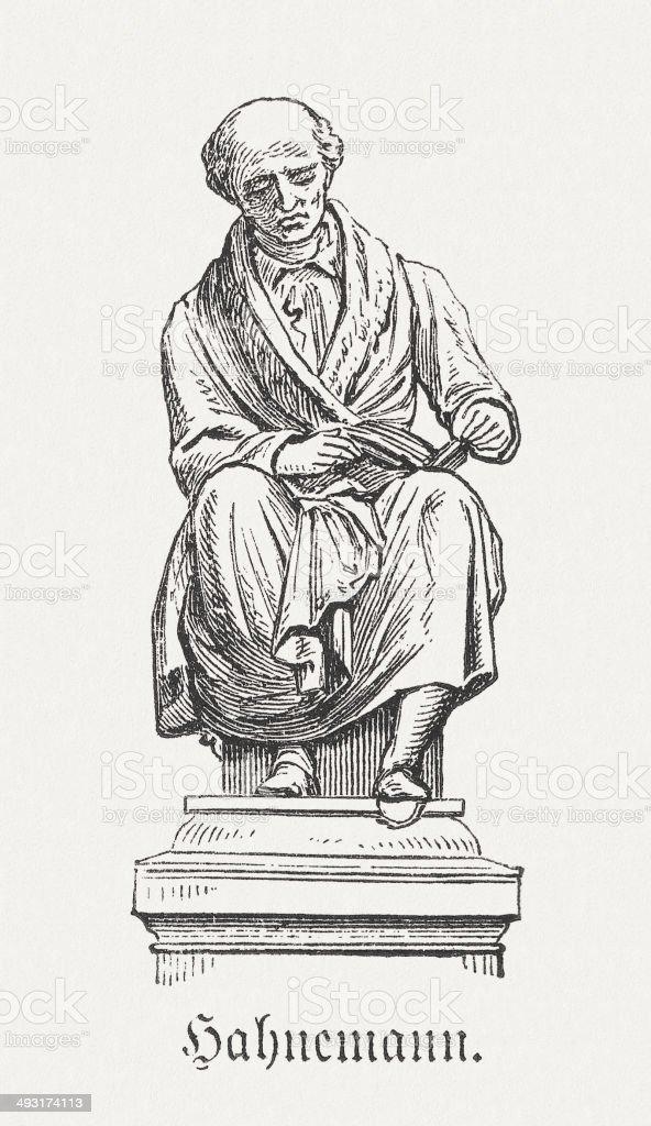 Samuel Hahnemann (1755-1843), wood engraving, published in 1881 vector art illustration