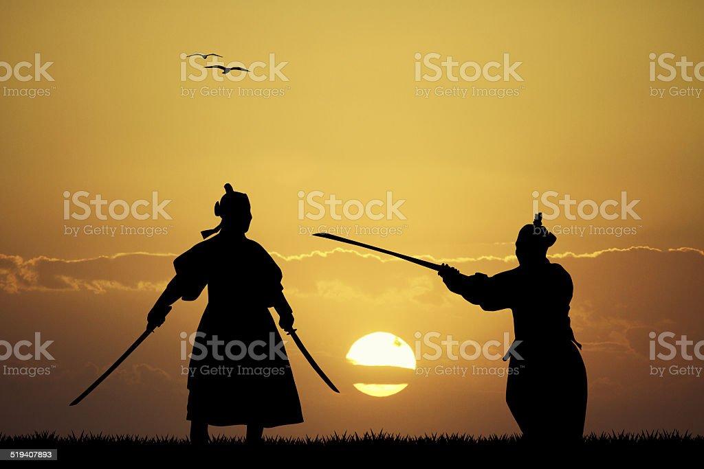 Samurai silhouette vector art illustration