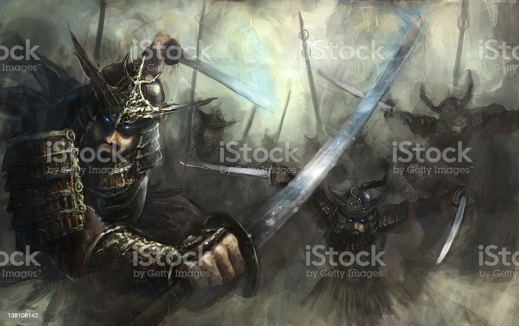 A samurai sword fighter in combat royalty-free stock vector art