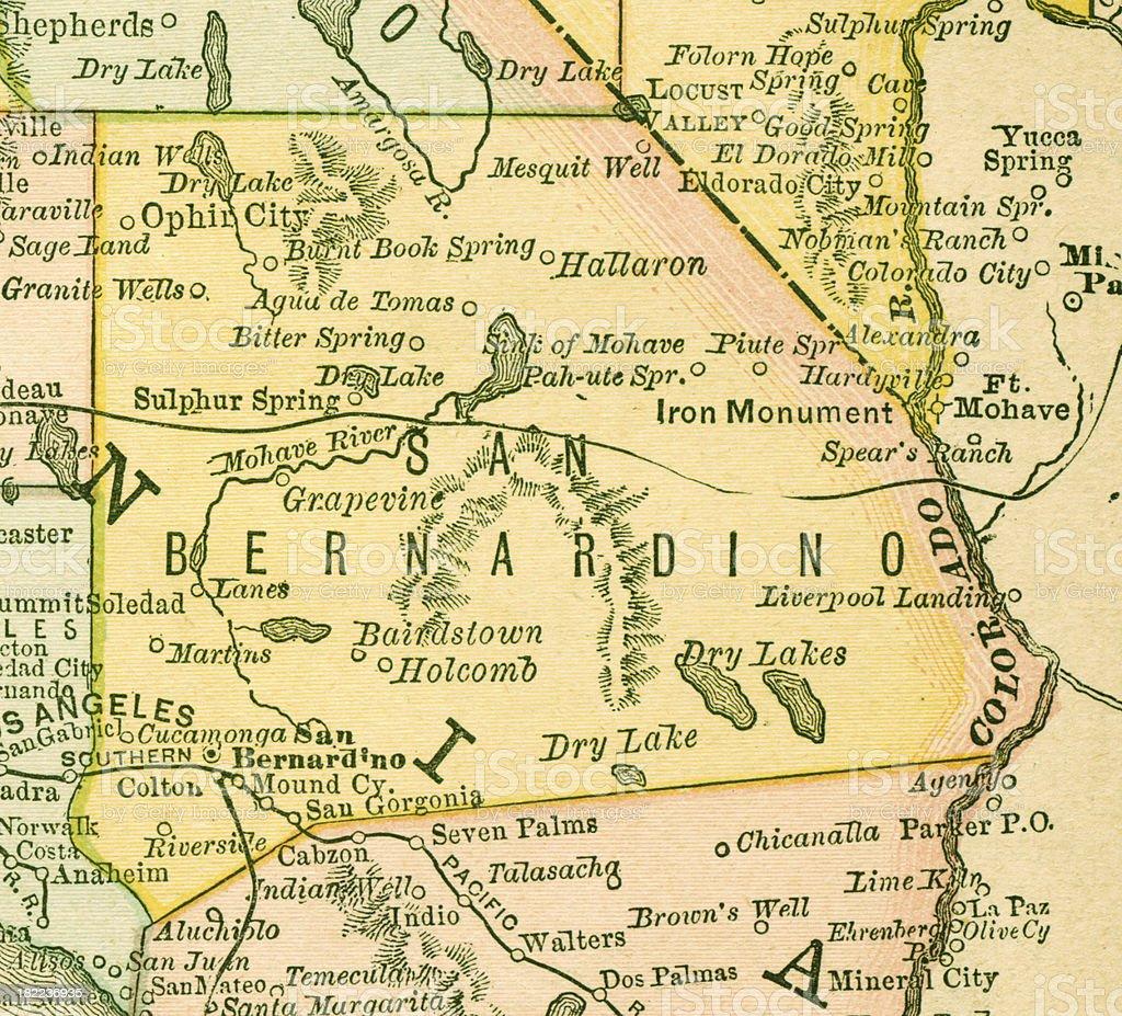 San Bernardino | California County Maps vector art illustration