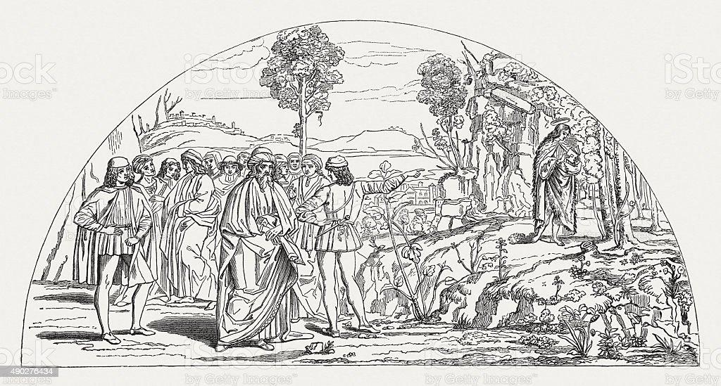 San Bernardino in loneliness, published 1878 vector art illustration