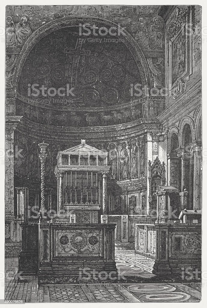 San Clemente in Rome (built 11th century), published 1878 vector art illustration