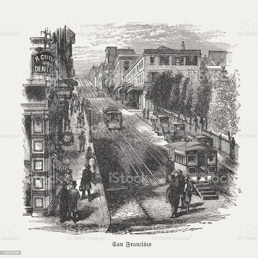 San Francisco Cable Cars, wood engraving, published in 1882 vector art illustration