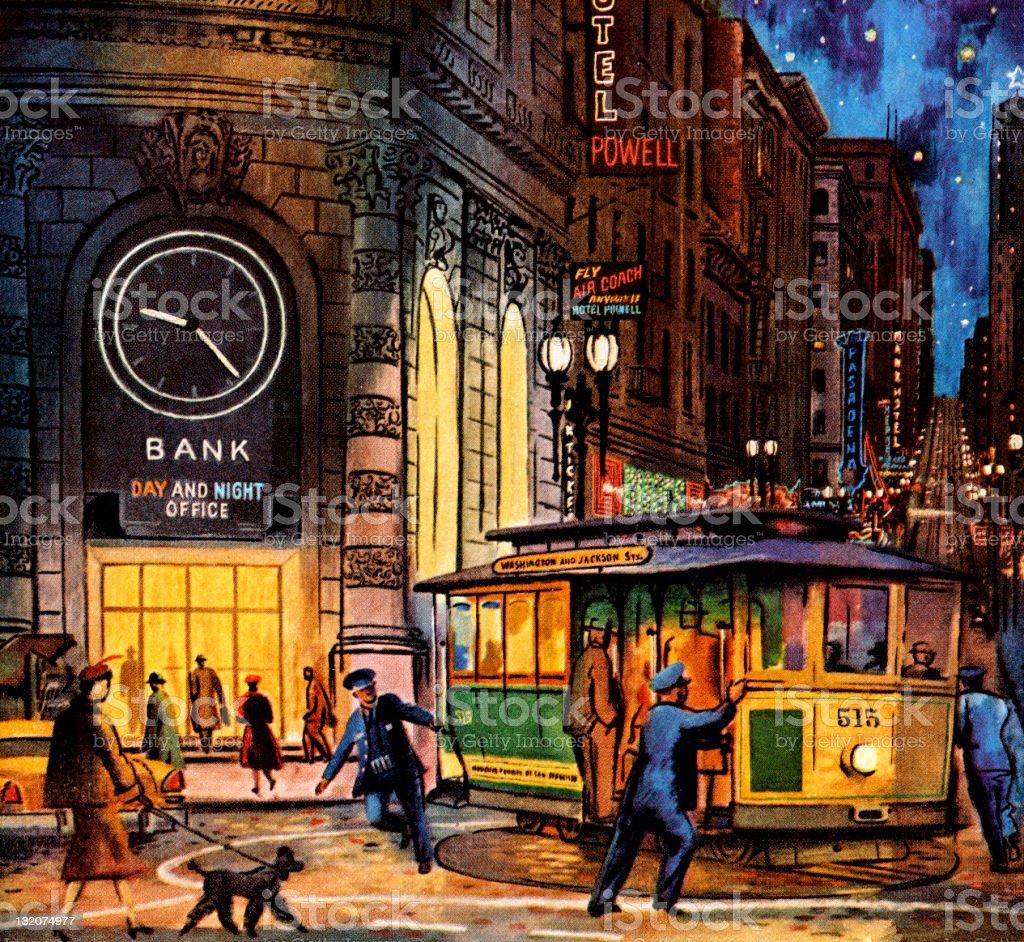 San Francisco Night Scene royalty-free stock vector art