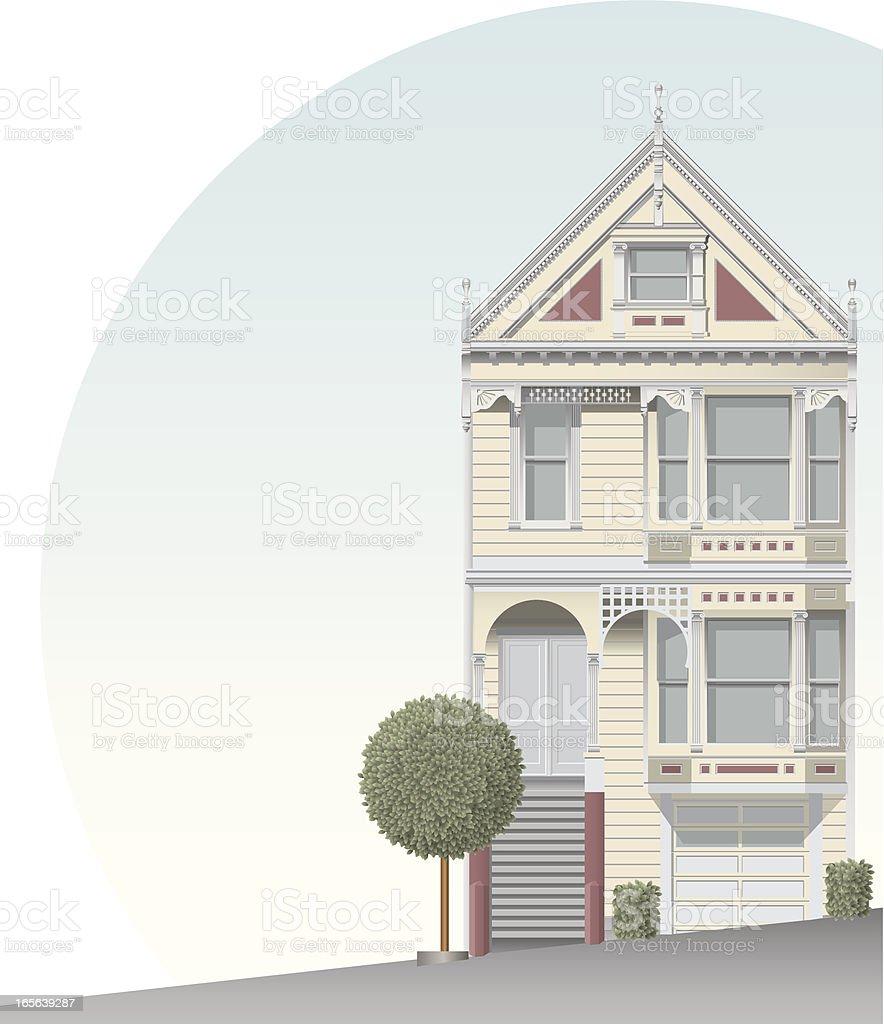San Francisco victorian home vector art illustration