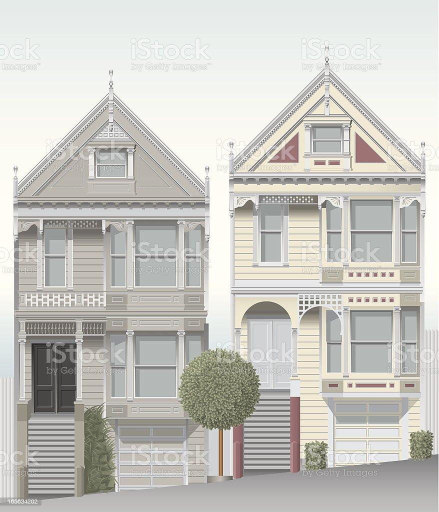 San Francisco victorian homes royalty-free stock vector art