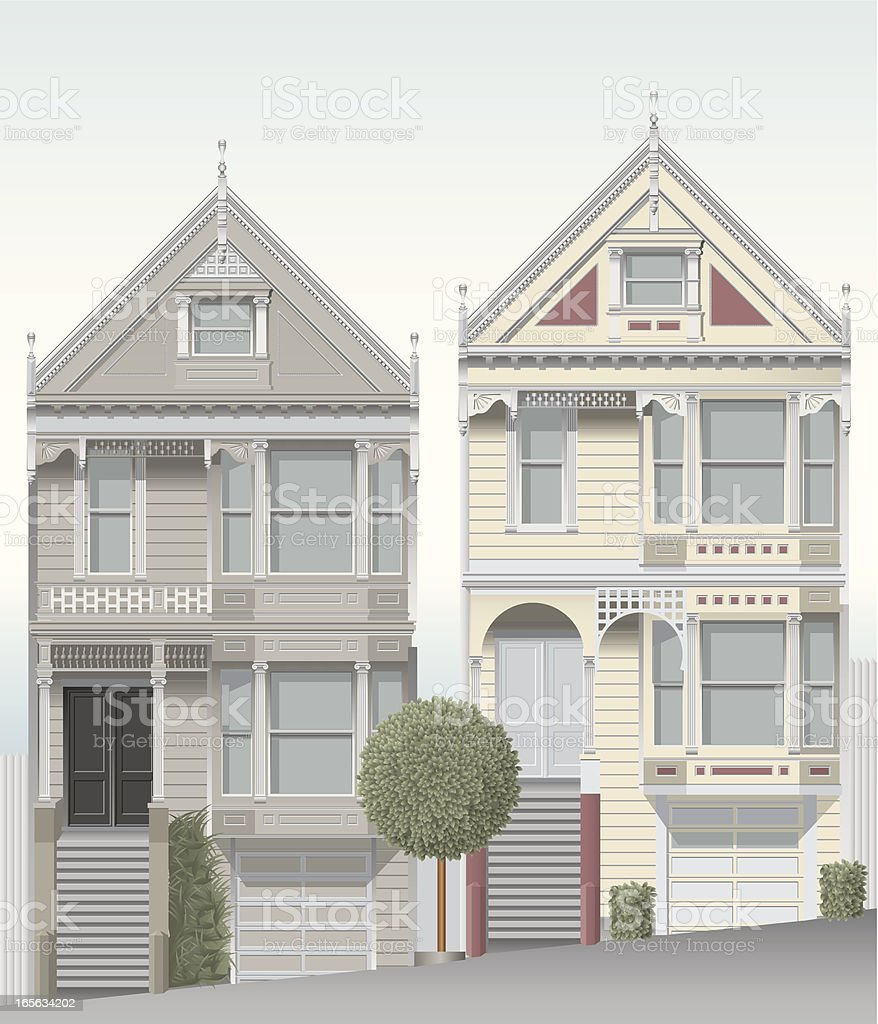 San Francisco victorian homes vector art illustration