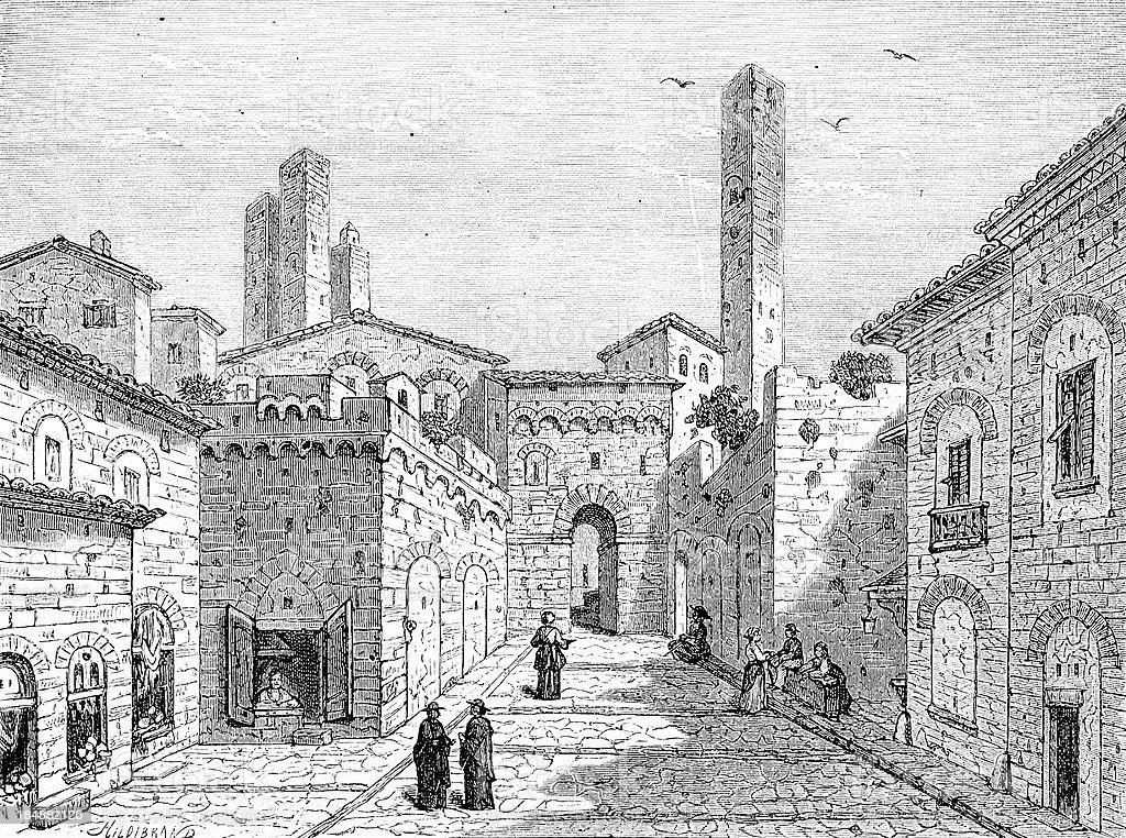 San Gimignano vector art illustration
