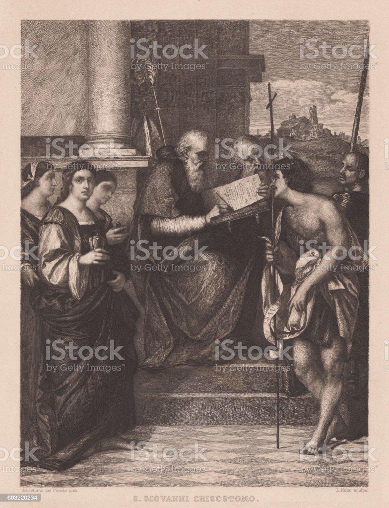 San Giovanni Crisostomo Altarpiece, painted (1510/11) by Sebastiano del Piombo vector art illustration
