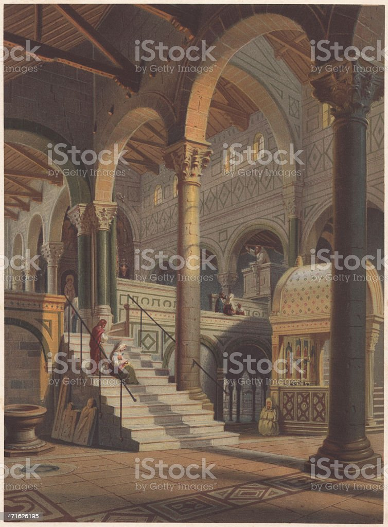 San Miniato near Florence, XIth century, lithograph, published in 1861 royalty-free stock vector art
