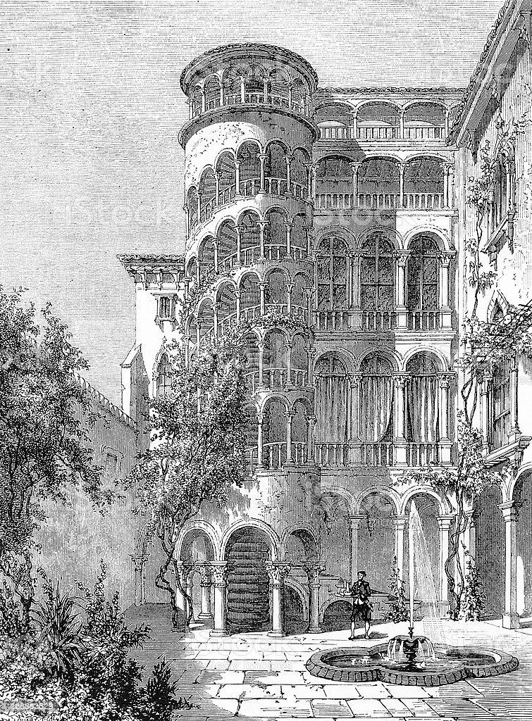 San Paterniano staircase, Venice royalty-free stock vector art
