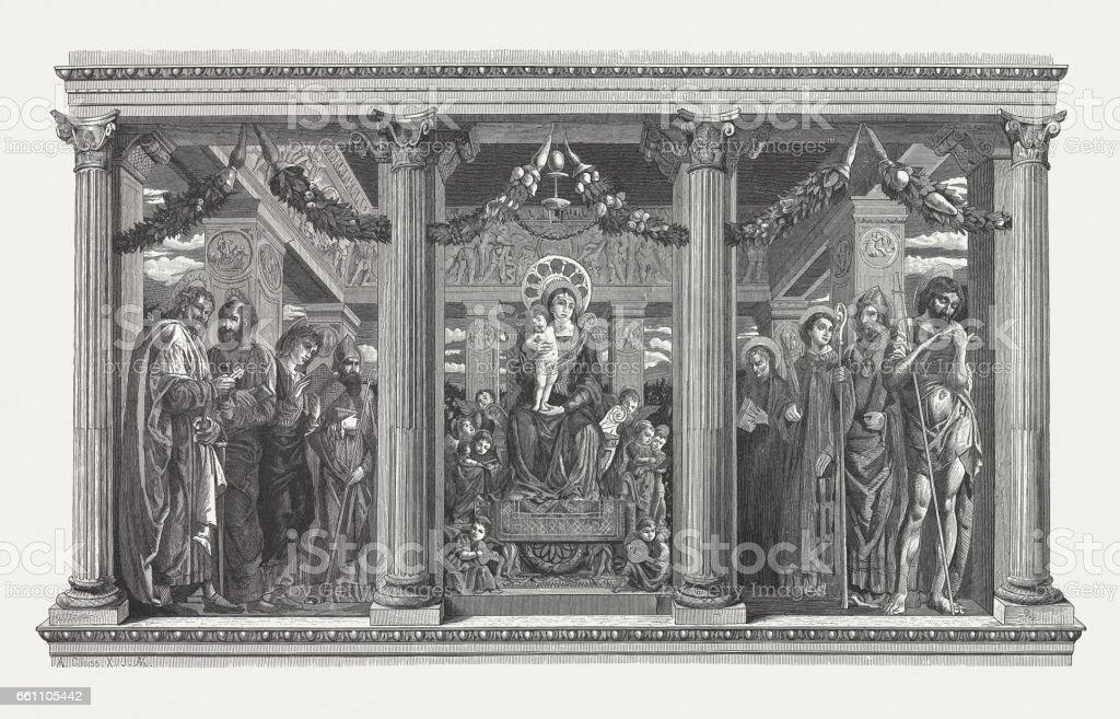 San Zeno Altarpiece, painted (c.1457/60) by Andrea Mantegna, Verona, Italy vector art illustration