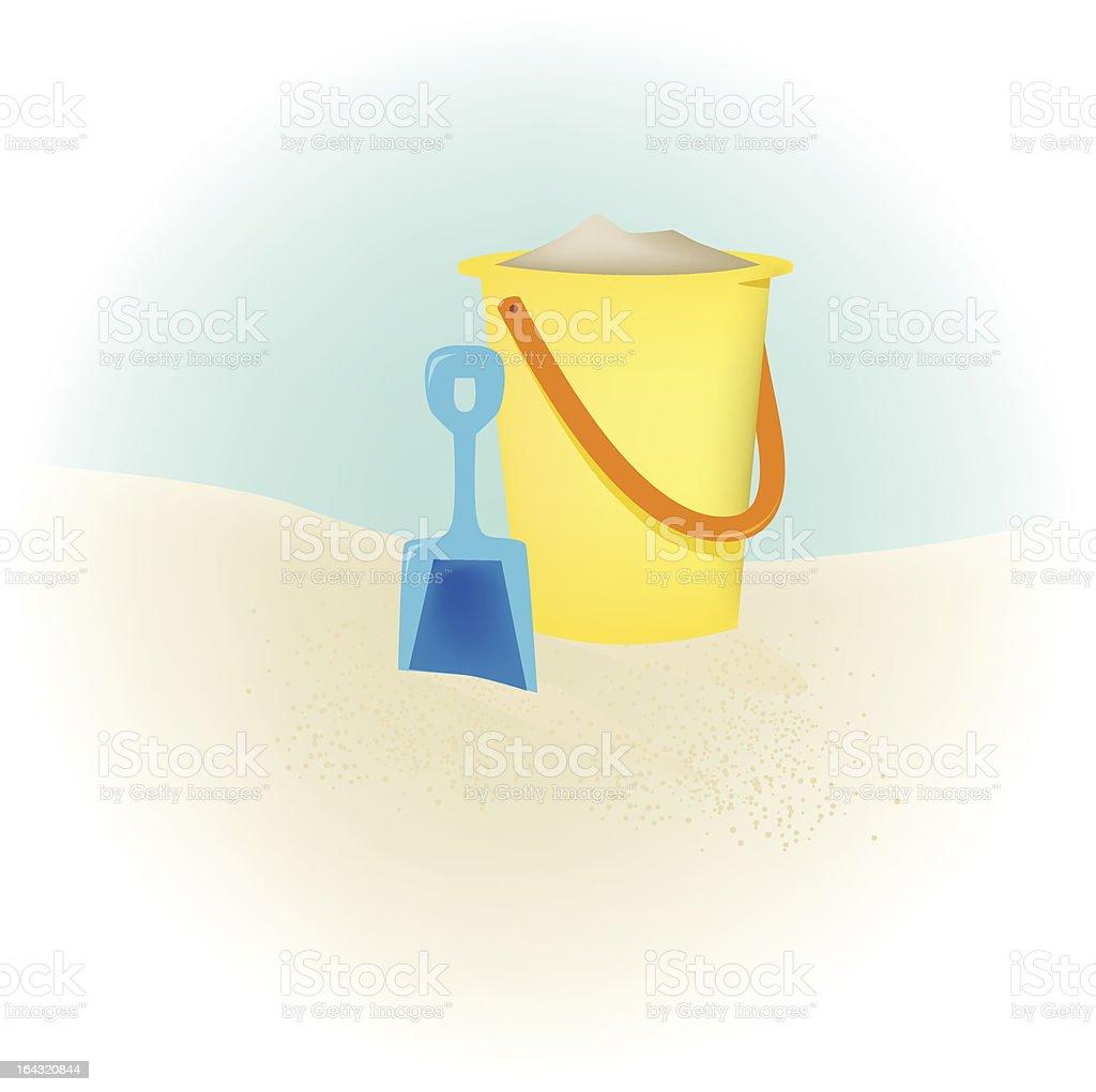 Sand Bucket on the Beach vector art illustration