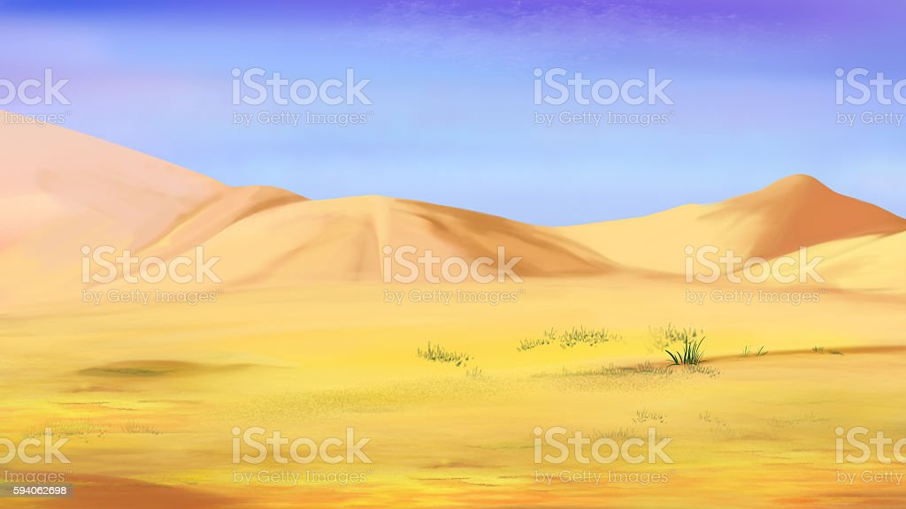 Sand Dunes under a Blue Sky vector art illustration