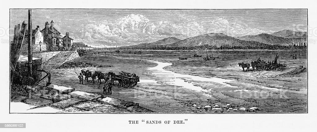 Sands of River Dee in Chester, Wales Victorian Engraving, 1840 vector art illustration